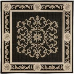 Safavieh Sunny Medallion Black/ Sand Indoor/ Outdoor Rug (7'10 Square)