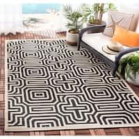 """Safavieh Matrix Sand/ Black Indoor/ Outdoor Rug - 6'7"""" x 6'7"""" square"""