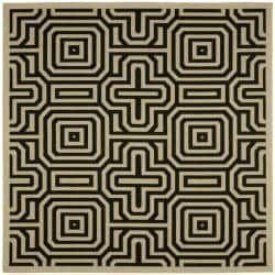 Safavieh Matrix Sand/ Black Indoor/ Outdoor Rug (7'10 Square)