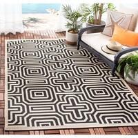 """Safavieh Matrix Sand/ Black Indoor/ Outdoor Rug - 7'10"""" x 7'10"""" square"""