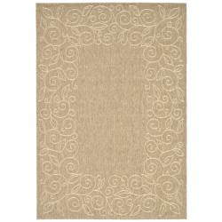 Safavieh Courtyard Scroll Border Dark Beige/ Beige Indoor/ Outdoor Rug (5'3 x 7'7)