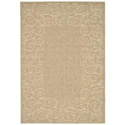 Safavieh Courtyard Scroll Border Dark Beige/ Beige Indoor/ Outdoor Rug (6'7 x 9'6)