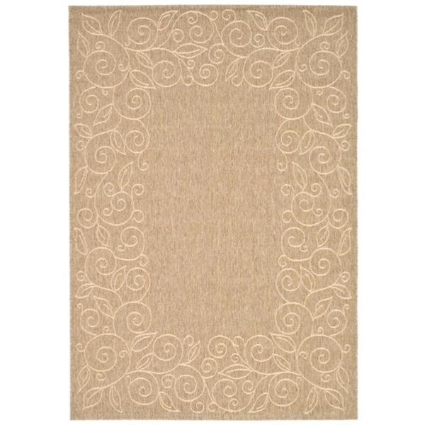 "Safavieh Courtyard Scroll Border Dark Beige/ Beige Indoor/ Outdoor Rug - 6'7"" x 9'6"""