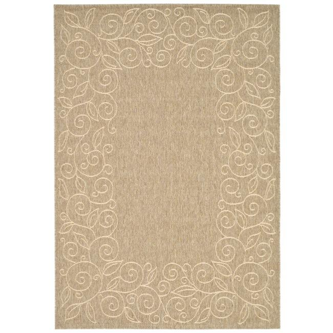 Safavieh Courtyard Scroll Border Dark Beige/ Beige Indoor/ Outdoor Rug (8' x 11') - Thumbnail 0
