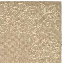 Safavieh Courtyard Scroll Border Dark Beige/ Beige Indoor/ Outdoor Rug (8' x 11') - Thumbnail 1