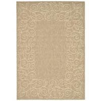 Safavieh Courtyard Scroll Border Dark Beige/ Beige Indoor/ Outdoor Rug - 8' x 11'