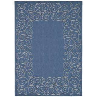 Safavieh Courtyard Scroll Border Blue/ Beige Indoor/ Outdoor Rug (4' x 5'7)