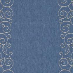 "Safavieh Courtyard Scroll Border Blue/ Beige Indoor/ Outdoor Rug (5'3"" x 7'7"")"