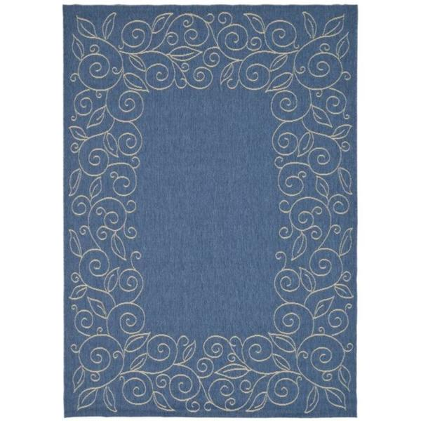 "Safavieh Courtyard Scroll Border Blue/ Beige Indoor/ Outdoor Rug (5'3"" x 7'7"")"