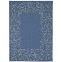 Safavieh Courtyard Scroll Border Blue/ Beige Indoor/ Outdoor Rug - 6'7 x 9'6