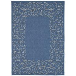 Safavieh Courtyard Scroll Border Blue/ Beige Indoor/ Outdoor Rug (8' x 11')