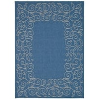 Safavieh Courtyard Scroll Border Blue/ Beige Indoor/ Outdoor Rug - 8' X 11'