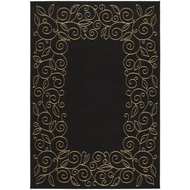 Safavieh Courtyard Scroll Border Black/ Beige Indoor/ Outdoor Rug (2'7 x 5')