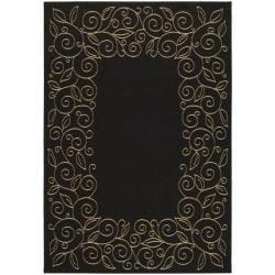 Safavieh Courtyard Scroll Border Black/ Beige Indoor/ Outdoor Rug (2'7 x 5')