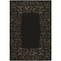 Safavieh Courtyard Scroll Border Black/ Beige Indoor/ Outdoor Rug - 2'7' x 5'