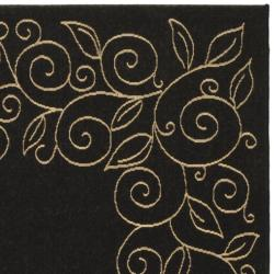 "Safavieh Courtyard Scroll Border Black/ Beige Indoor/ Outdoor Rug (6'7"" x 9'6"") - Thumbnail 1"