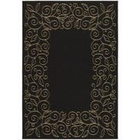 Safavieh Courtyard Scroll Border Black/ Beige Indoor/ Outdoor Rug - 6'7' x 9'6'