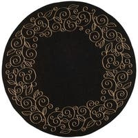 "Safavieh Courtyard Scroll Border Black/ Beige Indoor/ Outdoor Rug - 6'7"" x 6'7"" Round"