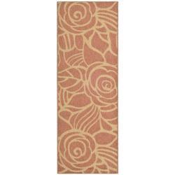 """Safavieh Courtyard Roses Rust/ Sand Indoor/ Outdoor Runner (2' 4"""" x 6' 7"""")"""