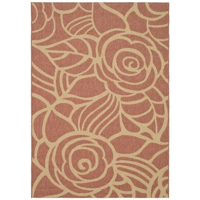 "Safavieh Courtyard Roses Rust/ Sand Indoor/ Outdoor Rug (6'7"" x 9'6"") - Thumbnail 0"