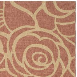"Safavieh Courtyard Roses Rust/ Sand Indoor/ Outdoor Rug (6'7"" x 9'6"") - Thumbnail 1"