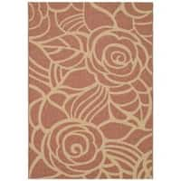 Safavieh Courtyard Roses Rust/ Sand Indoor/ Outdoor Rug - 6'7' x 9'6'