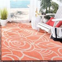 Safavieh Courtyard Roses Rust/ Sand Indoor/ Outdoor Rug - 8' X 11'