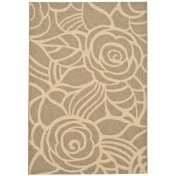 Safavieh Courtyard Roses Coffee/ Sand Indoor/ Outdoor Rug (6'7 x 9'6)