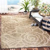"Safavieh Courtyard Roses Coffee/ Sand Indoor/ Outdoor Rug - 6'7"" x 9'6"""