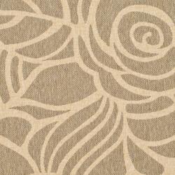 Safavieh Courtyard Roses Coffee/ Sand Indoor/ Outdoor Rug (8' x 11') - Thumbnail 2