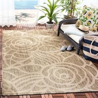 Safavieh Courtyard Roses Coffee/ Sand Indoor/ Outdoor Rug - 8' X 11'