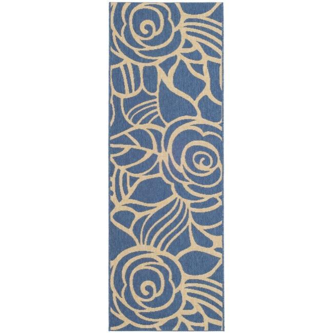 """Safavieh Courtyard Roses Blue/ Beige Indoor/ Outdoor Runner (2'4"""" x 6'7"""") - 2'4 x 6'7"""