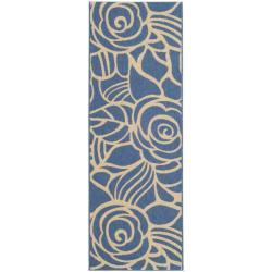 "Safavieh Courtyard Roses Blue/ Beige Indoor/ Outdoor Runner (2'4"" x 6'7"") - 2'4 x 6'7 - Thumbnail 0"