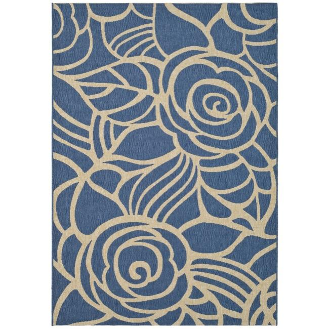 """Safavieh Courtyard Roses Blue/ Beige Indoor/ Outdoor Rug (4' x 5'7"""")"""