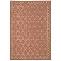 Safavieh Courtyard Trellis All-Weather Rust/ Sand Indoor/ Outdoor Rug - 5'3' x 7'7'