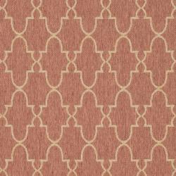 """Safavieh Courtyard Trellis All-Weather Rust/ Sand Indoor/ Outdoor Rug (6'7"""" x 9'6"""")"""