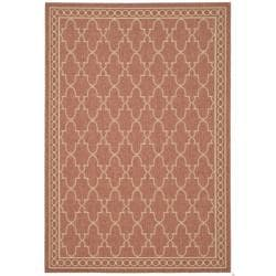"Safavieh Rust/Sand Geometric Pattern Indoor/Outdoor Rug (6'7"" x 9'6"")"