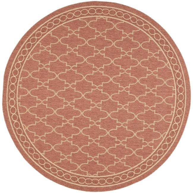 Safavieh courtyard trellis all weather rust sand indoor for All weather patio rugs