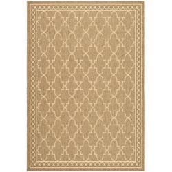 Safavieh Indoor/ Outdoor Dark Beige/ Beige Rug (6'7 x 9'6)