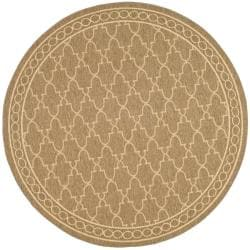 Safavieh Courtyard Trellis All-Weather Dark Beige/ Beige Indoor/ Outdoor Rug (6'7 Round)