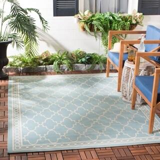 Safavieh Courtyard Trellis All-Weather Black/ Beige Indoor/ Outdoor Runner (2'4 x 6'7)