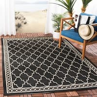 Safavieh Courtyard Trellis All-Weather Black/ Beige Indoor/ Outdoor Rug - 8' X 11'