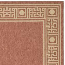 """Safavieh Courtyard Rust/ Sand Indoor/ Outdoor Rug (4' x 5'7"""")"""