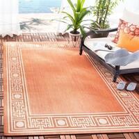 Safavieh Courtyard Rust/ Sand Indoor/ Outdoor Rug - 8' X 11'