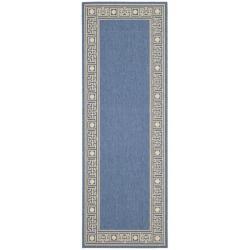 Safavieh Courtyard Blue/ Ivory Indoor/ Outdoor Rug (2'4 x 6'7)