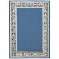 """Safavieh Courtyard Blue/ Ivory Indoor/ Outdoor Rug - 4' x 5'-7"""""""
