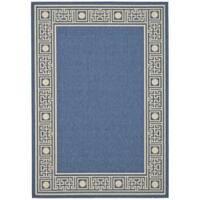 Safavieh Courtyard Blue/ Ivory Indoor/ Outdoor Rug - 5'3 x 7'7