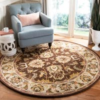 "Safavieh Handmade Heritage Timeless Traditional Brown/ Ivory Wool Rug - 3'6"" x 3'6"" round"