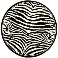 "Safavieh Lyndhurst Contemporary Zebra Black/ Ivory Rug - 5'3"" x 5'3"" Round"