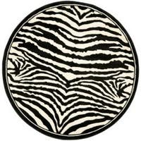Safavieh Lyndhurst Contemporary Zebra Black/ White Rug (8' Round) - 8'